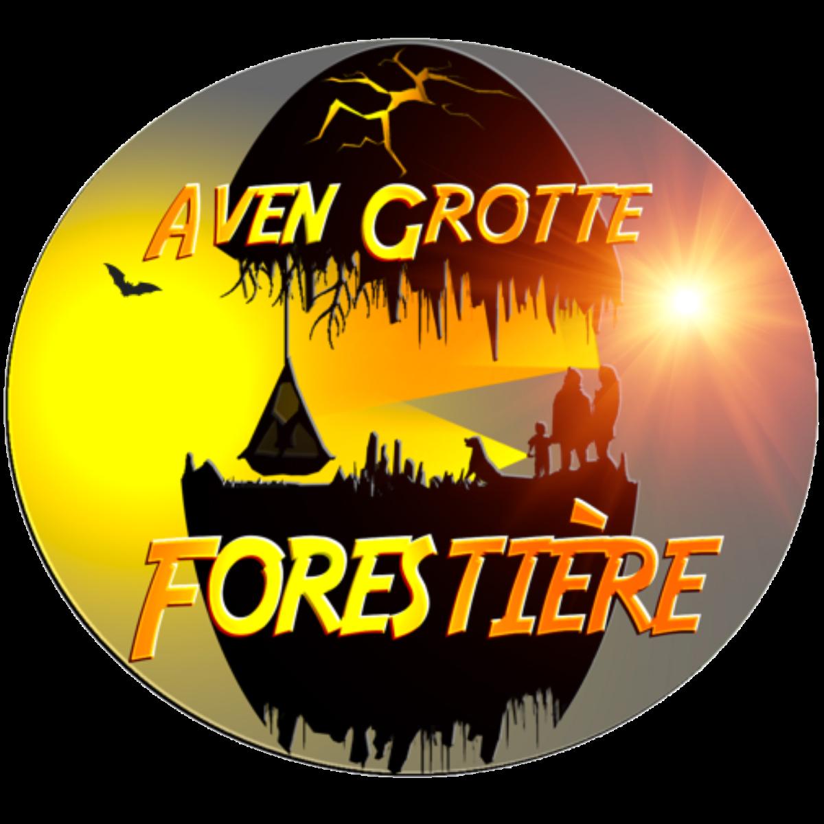 Grotte forestière logo avec soleil