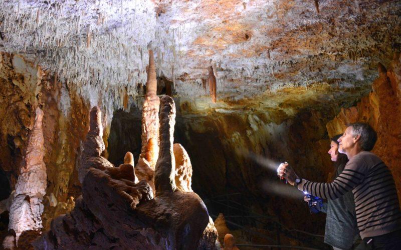 Aven grotte forestière ensemble à l'entrée avec lampes copie